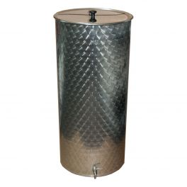 150 Litre Stainless Vat with Lid and Tap (Engine Turned Finish)