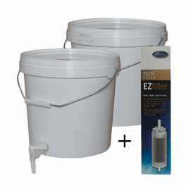 2 x 10 litre Buckets with Siphon & Tap and EZ Inline Filter