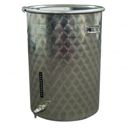 55 Litre Stainless Fermenter with Lid, Clamp, Airlock, & Tap (Engine Turned Finish)