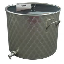 50 Litre Stainless Pan with Lid & Tap (Engine Turned Finish)