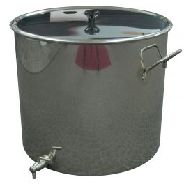 50 Litre Stainless Pan with Lid & Tap (Polished Finish)