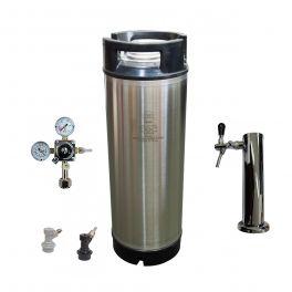 Cornelius Keg - 5 US Gallon/19 litre with Disconnects, Hose, Chrome Single Faucet and Regulator