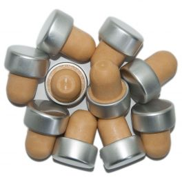 Capped Bottle Stoppers  - Silver (10)
