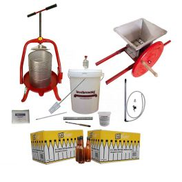 11-litre-cross-beam-press-v20-and-small-stainless-crusher-with-bottles-bundle